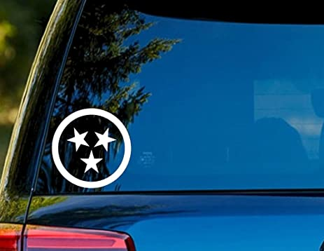 T1367 tennessee tri star white decal sticker 4 25 x 4 25 easy