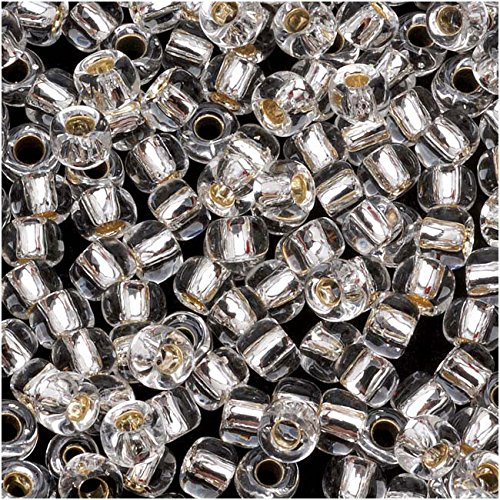 Toho Round Seed Beads 6/0#21 'Silver Lined Crystal' 8g