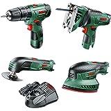 Bosch Cordless Bundle: Hammer Drill, Jigsaw, Multi Tool and Sander (1 Battery, 10.8 Volt)