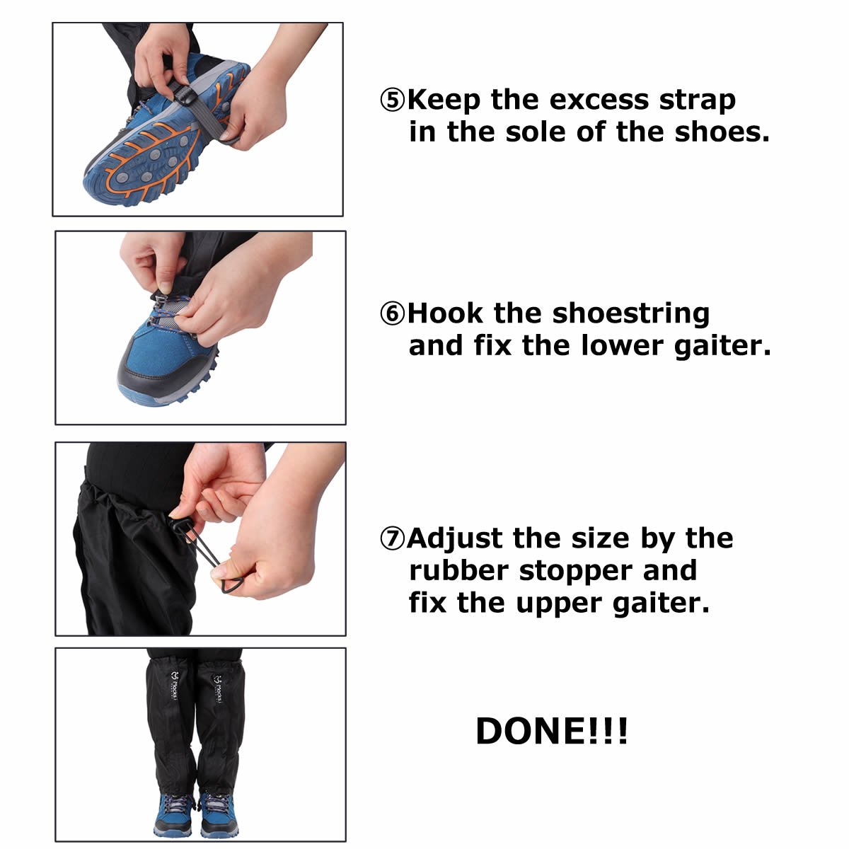 Macks.i Outdoor Unisex Waterproof Camping Hiking Gaiters High Leg Cover 1pair with a Free Shoe Bag by Macks.i (Image #5)