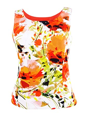 Kasper Womens Plus Scuba Floral Print Blouse Orange 16W at Amazon Women s  Clothing store