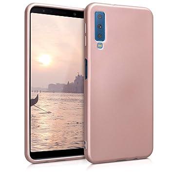kwmobile Funda para Samsung Galaxy A7 (2018) - Carcasa para móvil en TPU Silicona - Protector Trasero en Oro Rosa Metalizado