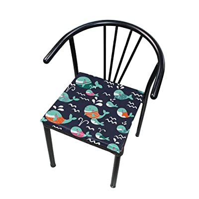 """Bardic HNTGHX Outdoor/Indoor Chair Cushion Ocean Sea Dolphin Square Memory Foam Seat Pads Cushion for Patio Dining, 16"""" x 16"""": Home & Kitchen"""