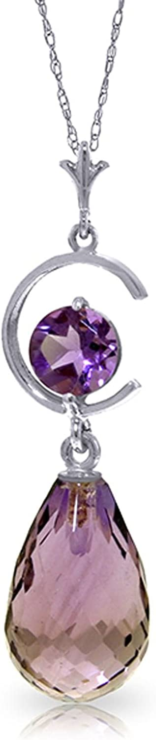 ALARRI 5.5 Carat 14K Solid White Gold Flickering Light Amethyst Necklace with 18 Inch Chain Length