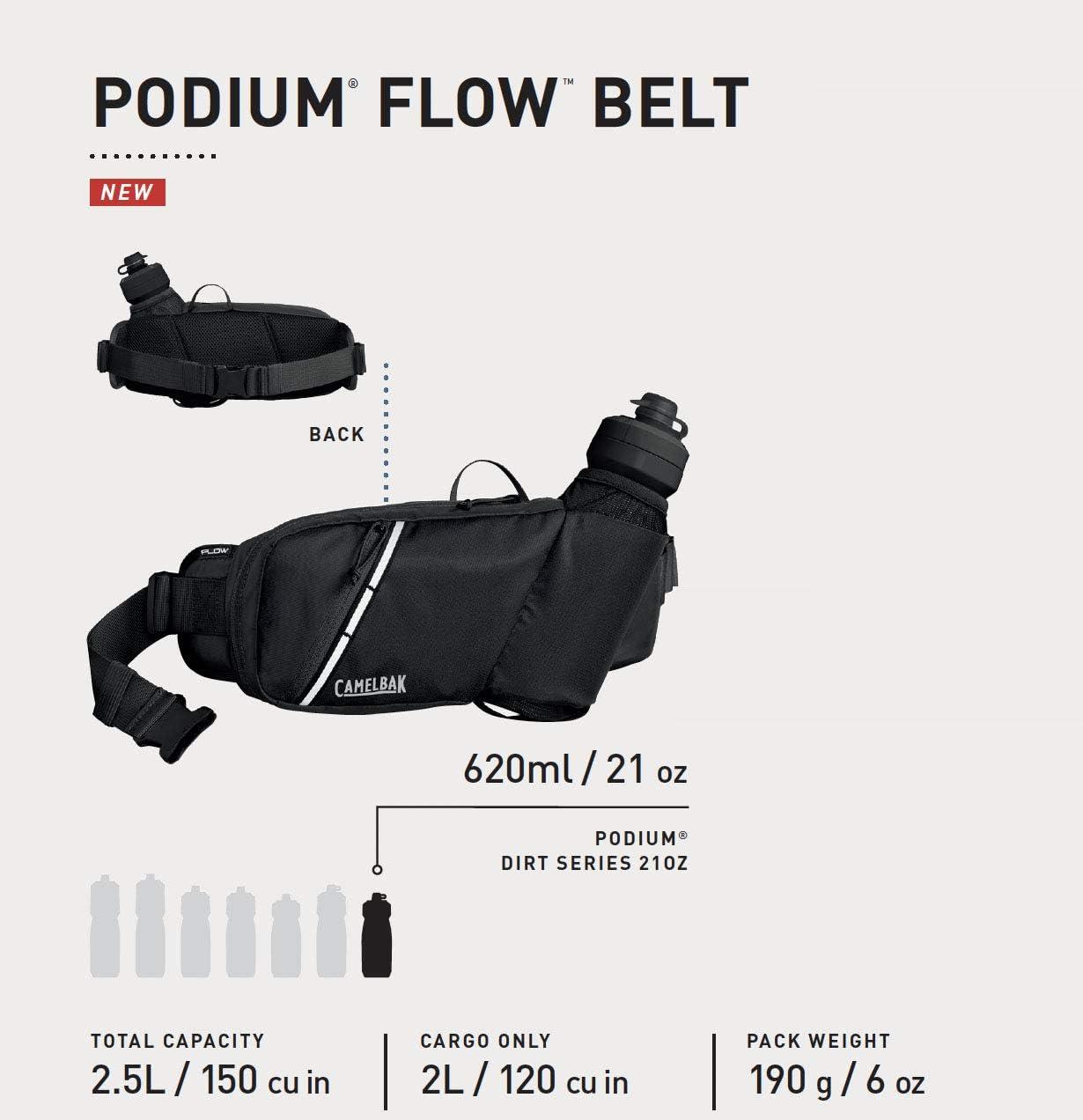 CamelBak Podium Flow Bike Hydration Belt Riding Belt 21 Ounce Adjustable Waist Buckle Podium Dirt Series Bottle Secure Zipper Pocket Easy Access Bottle Pocket