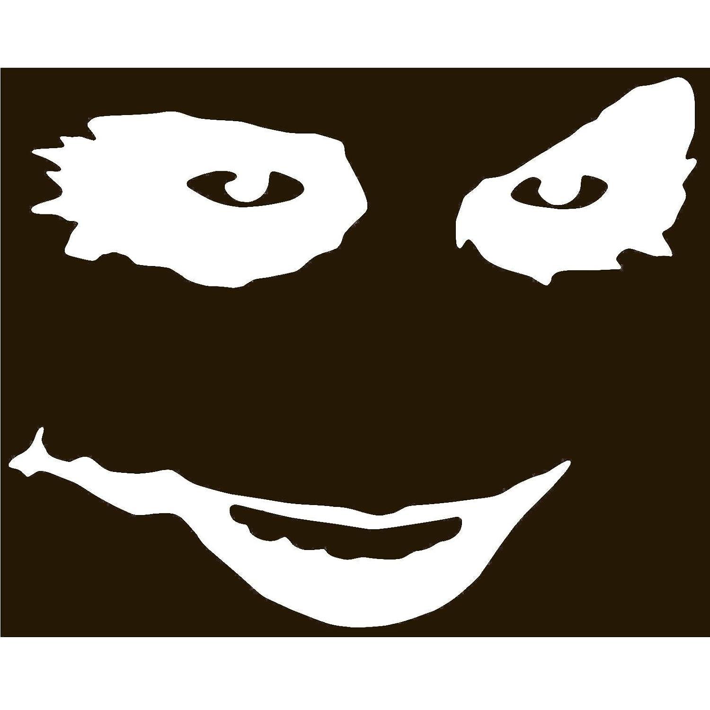 Amazon com joker face vinyl sticker decal 6 x 4 8 white automotive