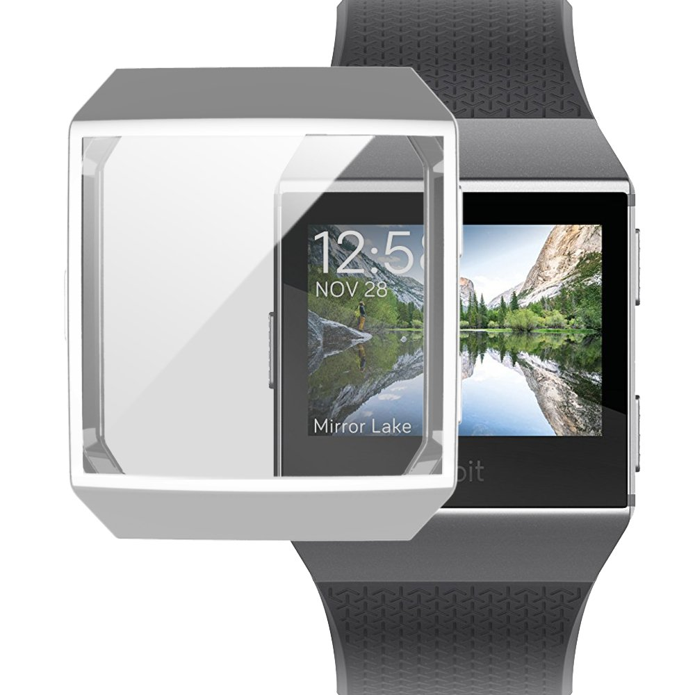 Fitbit Ionic Watch protect Case,Omni-directional Protect Screen Soft TPU Ultra-thin HD Clear Cover for Fitbit Ionic smart Watch (clear+silver) by ZRXS (Image #6)