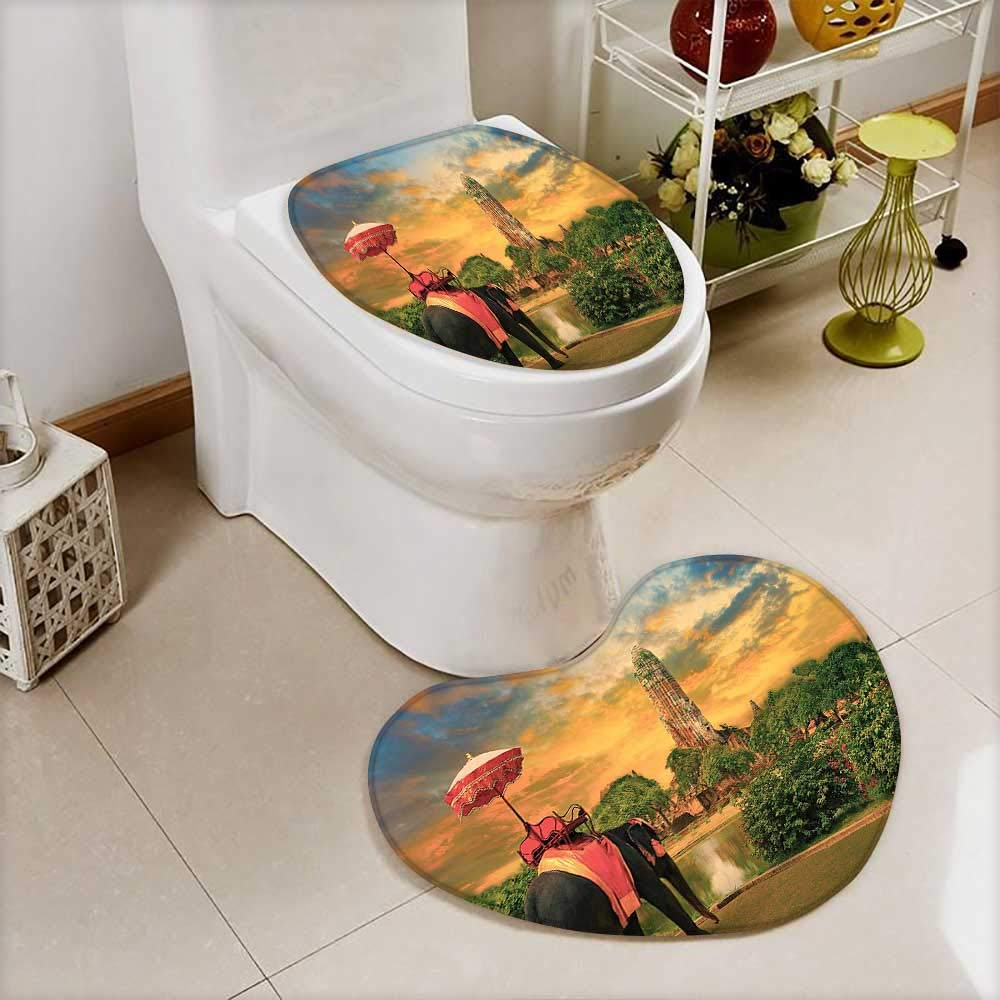 L-QN 2 Piece Toilet Toilet Mat Elephant Dressing Thai Kingdom Tradition Accessories Pagoda in Ayuthaya Non-Slip Soft Absorbent Bath