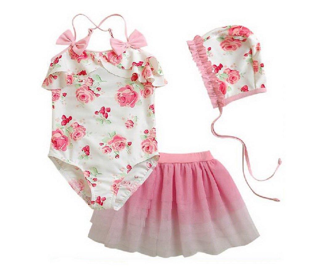 My Little Princess Pink Flowers 3 Pcs Swimsuit & Skirt & Cap 3T (80-100CM) PANDA SUPERSTORE PS-SPO2420249011-EMILY00800