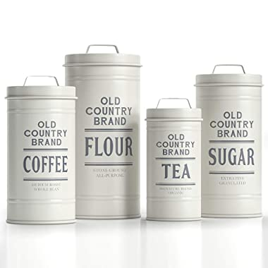 """Barnyard Designs Decorative Nesting Kitchen Canisters with Lids White Galvanized Metal Rustic Vintage Farmhouse Country Decor for Flour Sugar Coffee Tea Storage (Set of 4) (Largest is 5.5"""" x 11.25"""" H)"""