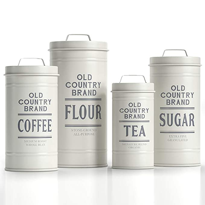 "Barnyard Designs Decorative Nesting Kitchen Canisters with Lids White Galvanized Metal Rustic Vintage Farmhouse Country Decor for Flour Sugar Coffee Tea Storage (Set of 4) (Largest is 5.5"" x 11.25"" H)"