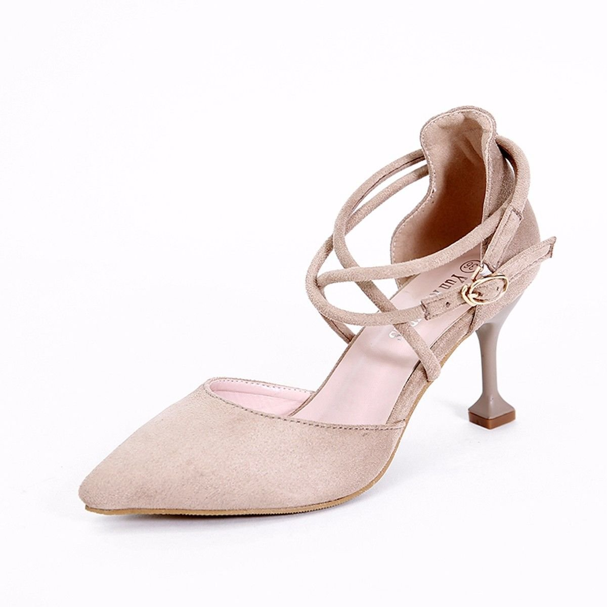GTVERNH Damenschuhe Frühling High Heels Einzelne Schuhe Geeignet Für Große Füße Große Fette Dicht und Dick Hohe Zurück.