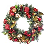 Pre-Lit Decorated Wreath Scarlet Hydrangea 30''