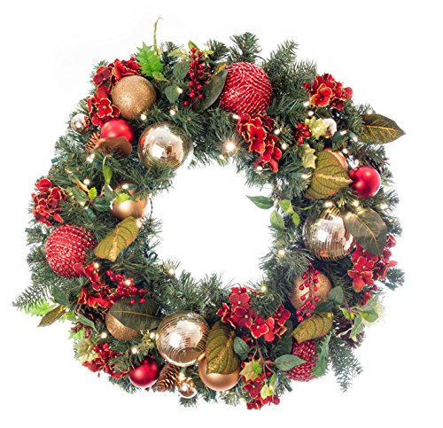 Pre-Lit Decorated Wreath Scarlet Hydrangea 30'' by VILLAGE LIGHTING COMPANY (Image #5)