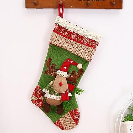 jujunx alce de Navidad Candy perlas de Navidad Papá Noel Muñeco calcetines decoración