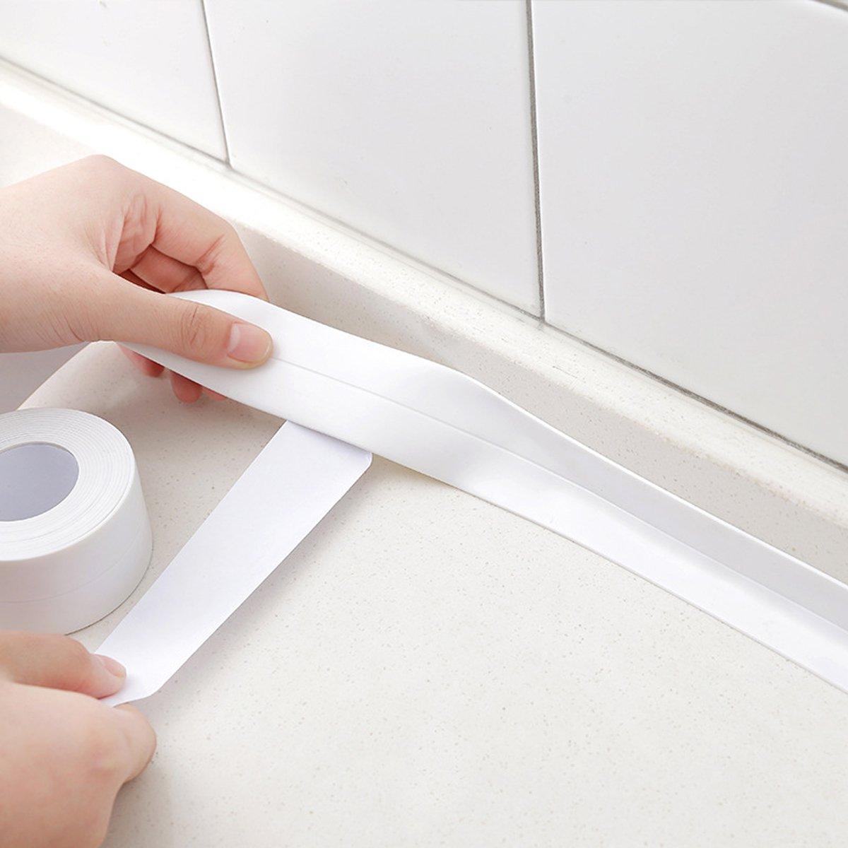 wei/ß pet-lifeeling Eck-Klebeband-Streifen schimmelresistent wasserdicht Kochen Badewannen-Edge-Displayschutzfolie zu 2/St/ück 126x0.87