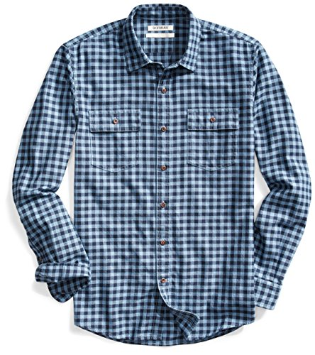 Double Pocket Button (Goodthreads Men's Standard-Fit Long-Sleeve Gingham Twill Shirt, Navy Eclipse, Large)