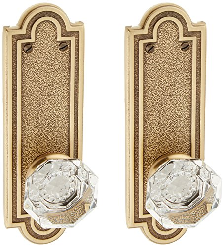 Emtek Dummy Knob Crystal Pair (Belmont Plate Set With Old Town Crystal Door Knobs Dummy Antique Brass. Old Door Knobs.)