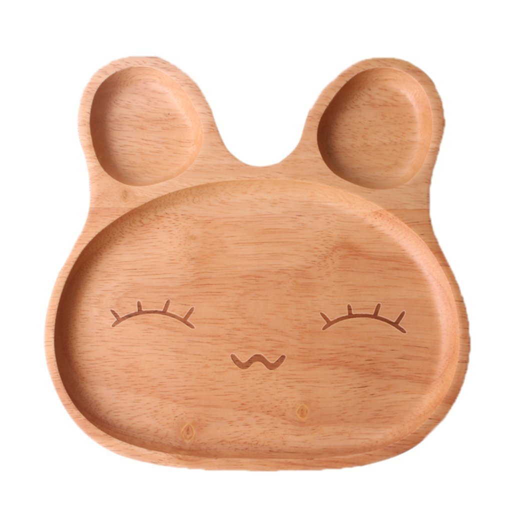 Kawaii Cartoon Rabbit Face Wood Dinner Plate Cute Animal Pattern Food Fruits Dish Wooden Service Plate Kid's Wood Dining Tray (B)
