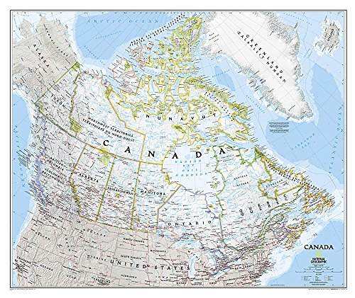"""Canada Wall Map (Classic Style, Tubed) 38"""" x - Map Canadian"""