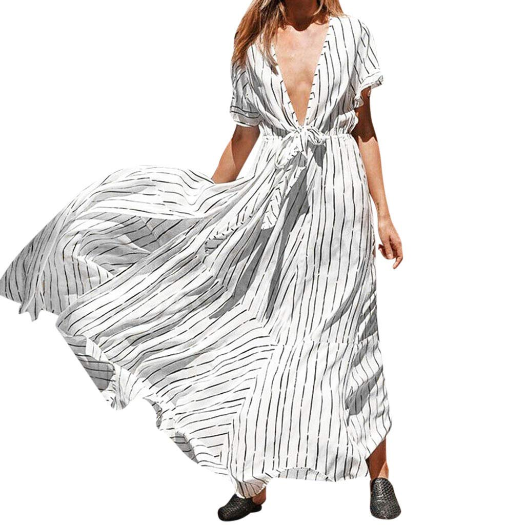 Fitfulvan Women's Sexy Deep V Stripe Long Skirt Short Sleeve Sharewear Beach Maxi Dress Irregular Hem Split Dress White
