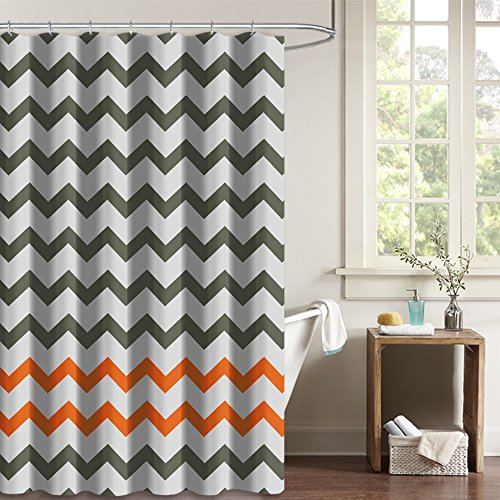 NYMB Gray Tan Chevron Zigzag Pattern Bath Curtains, 100% Polyester Fabric Waterproof Nautical Shower Curtains, Non Peva, Hooks Included (And Shower Gray Orange Curtain)