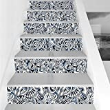 Stair Stickers Wall Stickers,6 PCS Self-adhesive,Popstar Party,Cartoon Style Hand Drawn Doodles Music Theme Icons Line Art Print,Blue Dark Blue White,Stair Riser Decal for Living Room, Hall, Kids Room