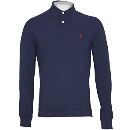 a86ebbb3b4864 Ralph Lauren Polo Long Sleeve Shirt Top Men s Custom Fit Solid Mesh White  Black Navy Red Grey (Navy