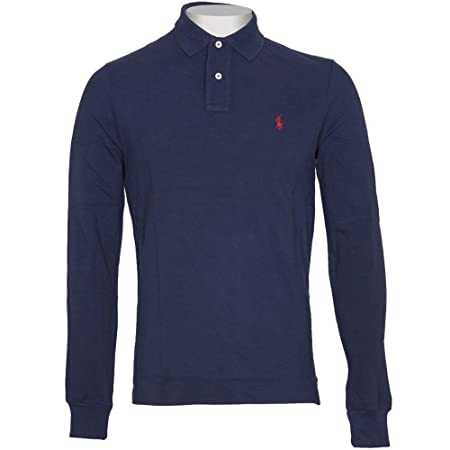 Ralph Lauren Polo Long Sleeve Shirt Top Men\u0027s Custom Fit Solid Mesh White  Black Navy Red