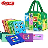 LALABABY Baby Toy 26pcs Soft Cards Learning number Toddler Early Education Interactive Game with Green Storage Bag