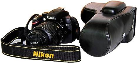 Funda de piel sintética para cámara Nikon D3200/D3100/D3300, diseño de trípode, negra: Amazon.es: Electrónica