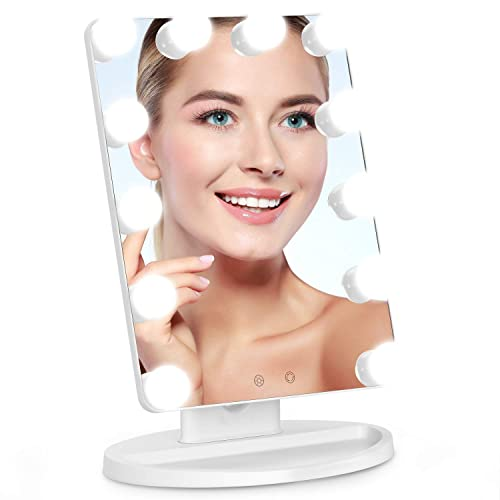 Cosmirror Hollywood Vanity Makeup Mirror with 12 Light Bulbs, 3 Color Lighting Modes, Lighted Makeup Mirror with Touch Sensor Dimming, Desktop Cosmetic Mirror Plug in White