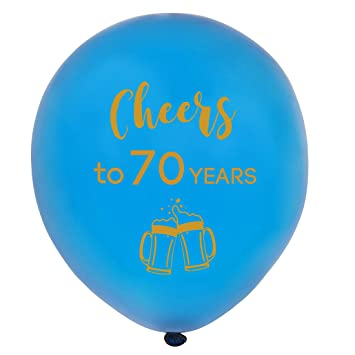 Amazon Blue Cheers To 70 Years Latex Balloons 12inch 16pcs
