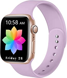 DaQin Sport Band Compatible with Apple Watch 38mm 40mm, Soft Silicone Replacement Wristbands for iWatch Series 6/SE 5 4 3 2 1 Lavender