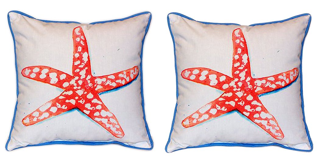 Pair of Betsy Drake Coral Starfish Large Indoor/Outdoor Pillows