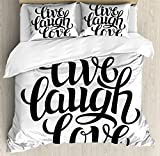 Live Laugh Love Decor King Size Duvet Cover Set by Ambesonne, Simplistic Inspiration Quote Minimalist Featured Typography Design, Decorative 3 Piece Bedding Set with 2 Pillow Shams, Black White
