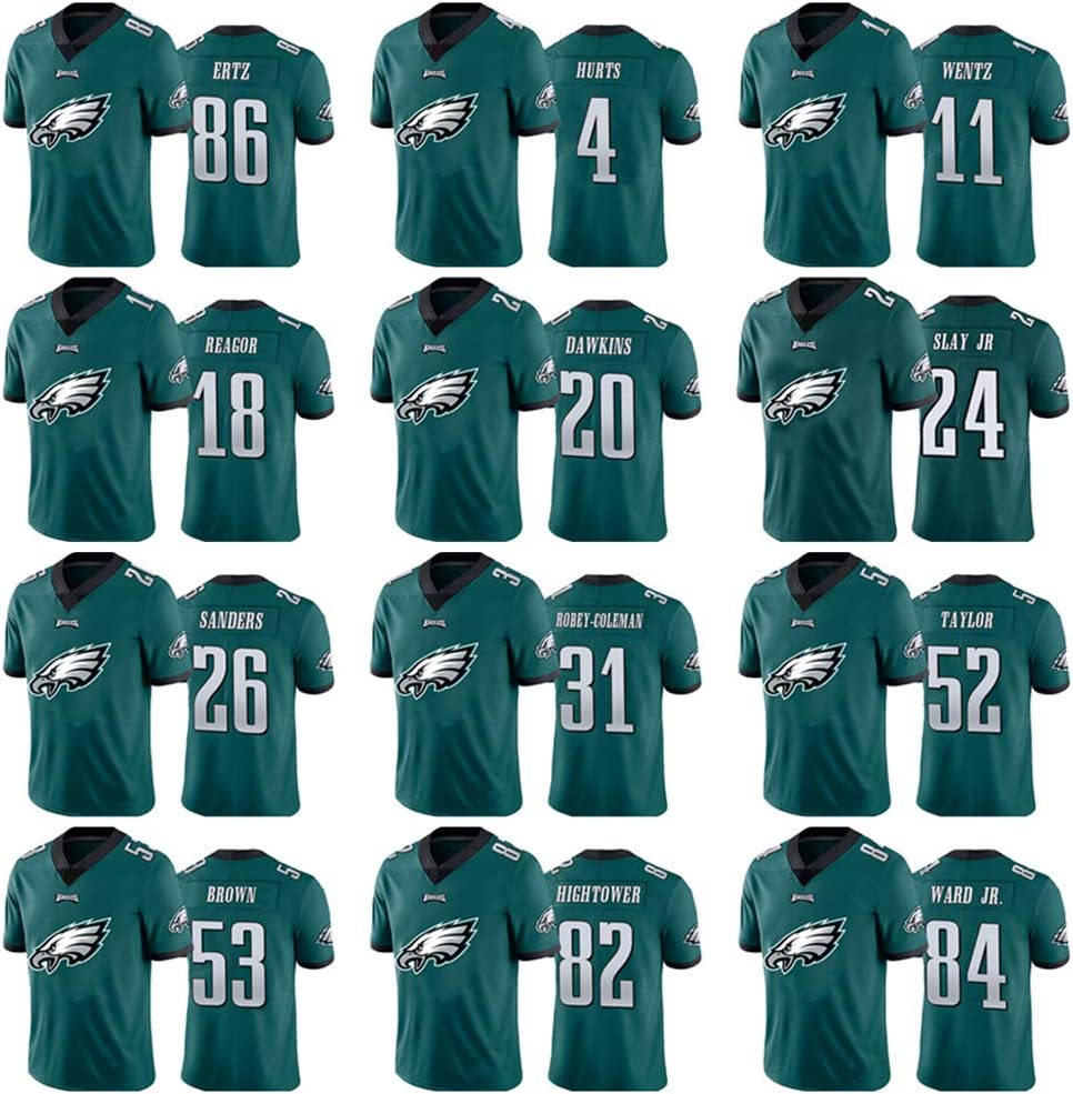 Philadelphia Eagles # 26 Rugby-Spieltrikot Kurzarm-Sportbekleidung f/ür Herren Mitternachtsgr/ün 26# Miles Sanders American Football-Trikot S-3XL