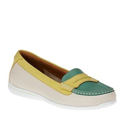 0b4df5262 CLARKS Cliffrose Enza Women s Turquoise Yellow White Leather 5-Medium