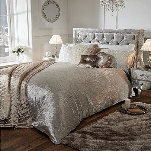 Luxury Crushed Velvet Duvet Quilt Cover Bedroom Bedding Set (Mink Beige, Double)