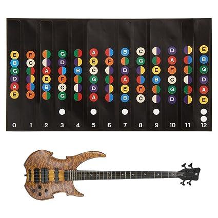 ALLCACA - 5 pegatinas para guitarra, diapasón, notas adhesivas ...