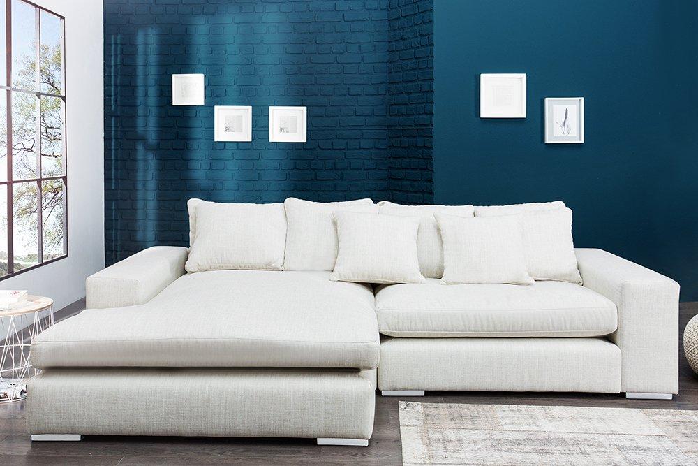Komfortables Ecksofa MINO im modernen Landhausstil Leinen beige Sofa ...