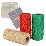3 Rolls Christmas Bakers Twine 2mm Cotton String Roll for Christmas Gift Wrapping,DIY Craft Decoration, 984 Feet/328yd Totally, Assorted Colors (Red+Green+Fiberflax)
