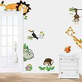 Sunnicy® Wandsticker Tierewelt Waldtier Giraffe Löwe Affe Kinder Wandaufkleber Dekor