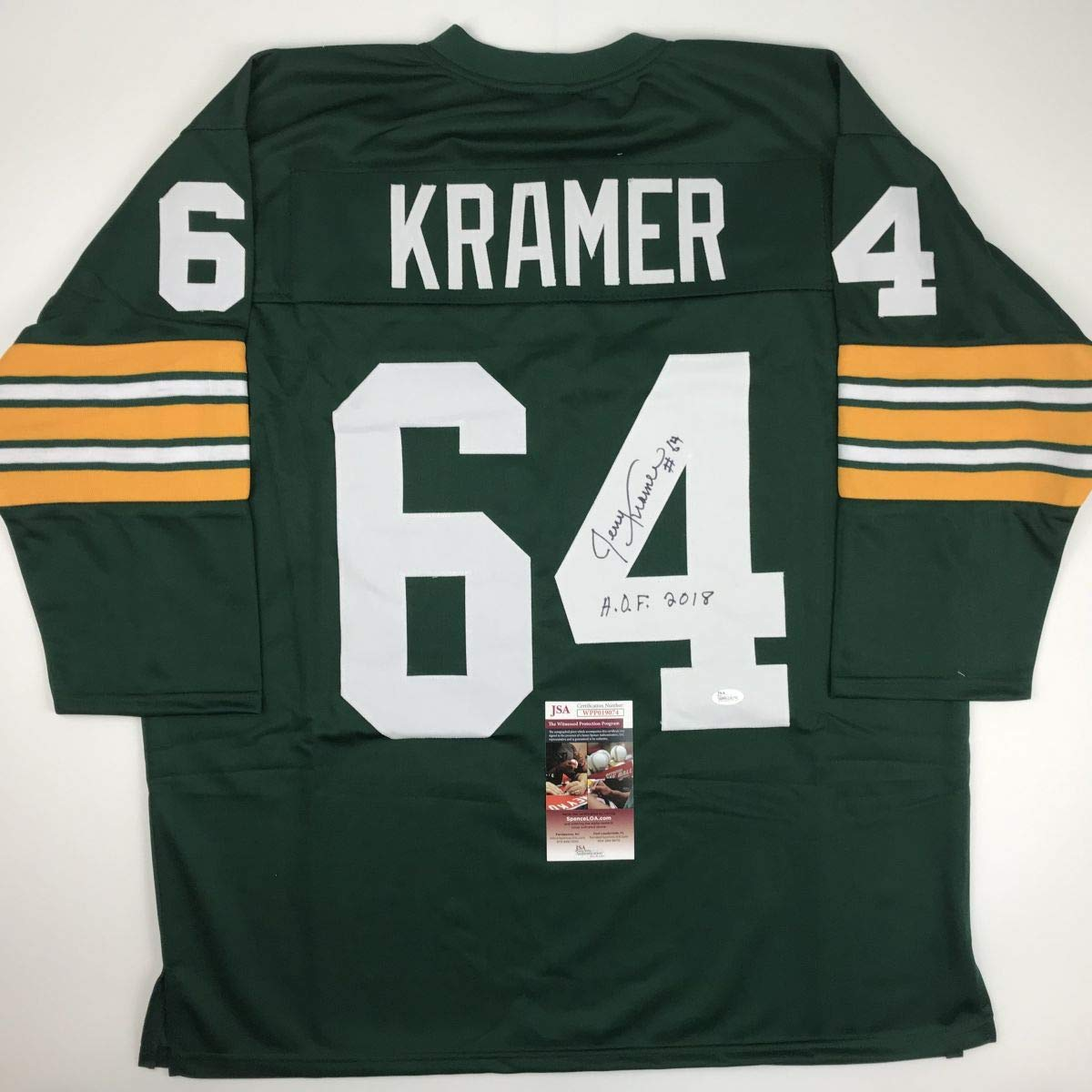 2afd1ba2ca7d3 Autographed/Signed Jerry Kramer HOF 2018 Green Bay Green Football Jersey JSA  COA at Amazon's Sports Collectibles Store
