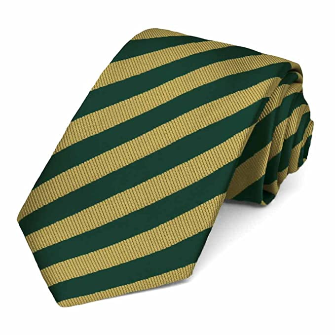 4b05f649a527 Image Unavailable. Image not available for. Color: TieMart Hunter Green and  Gold Formal Striped Tie