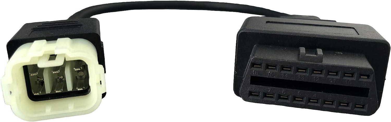kompatibel mit JPDIAG//TunECU 6-polig kompatibel mit Kawasaki MISTER DIAGNOSTIC Diagnose-Adapter f/ür Motorrad OBD2