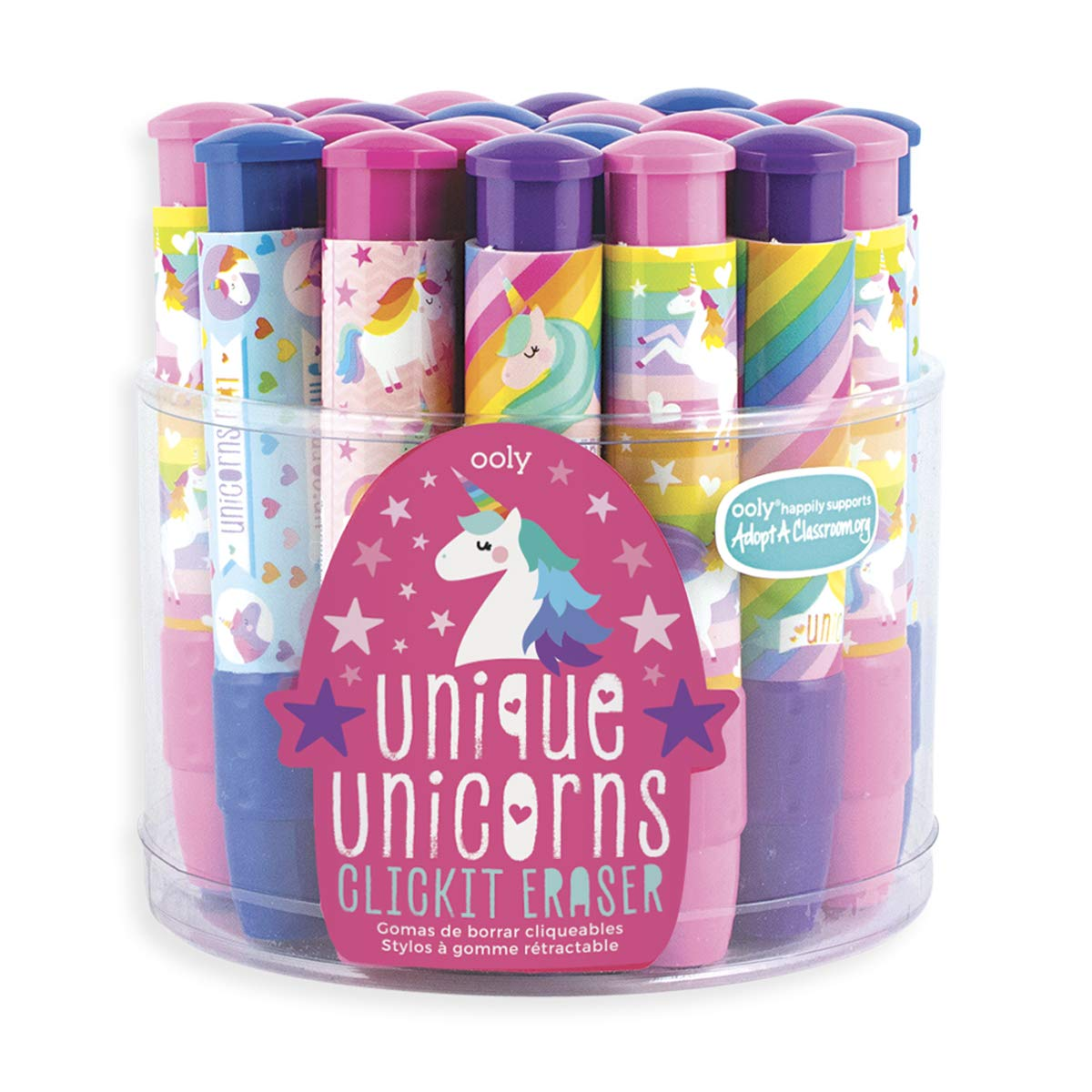Ooly Click It Eraser - Clickable Pencil Erasers Set - Unique Unicorns