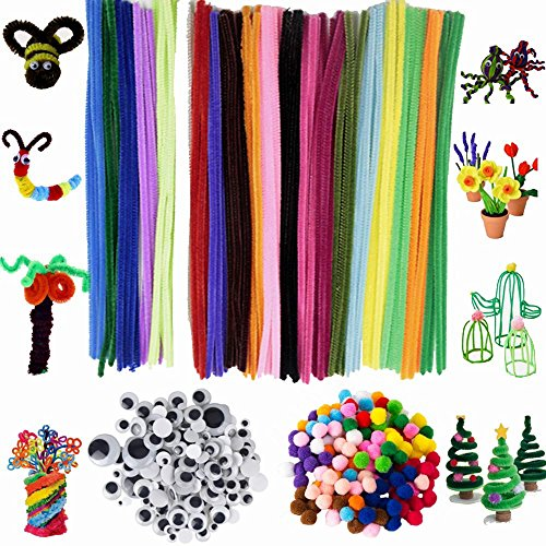 Assorted Colors Pipe Cleaners Chenille Sticks Stem DIY Art Craft Supplies Set Including 100 Pieces Pipe Cleaners,250 Pieces Pom Poms and 150 Pieces Wiggle Googly Eyes (500 pcs) ()