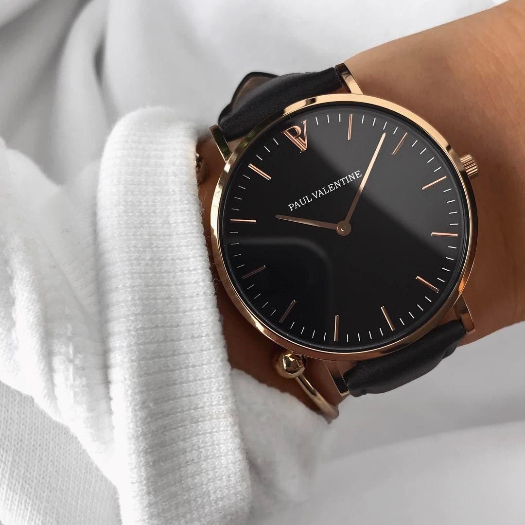 Paul Valentine | Pearl Rose Oro Negro | Mujer Reloj De Pulsera Con elegante diseño & atemporal y correa de piel gris: Amazon.es: Relojes