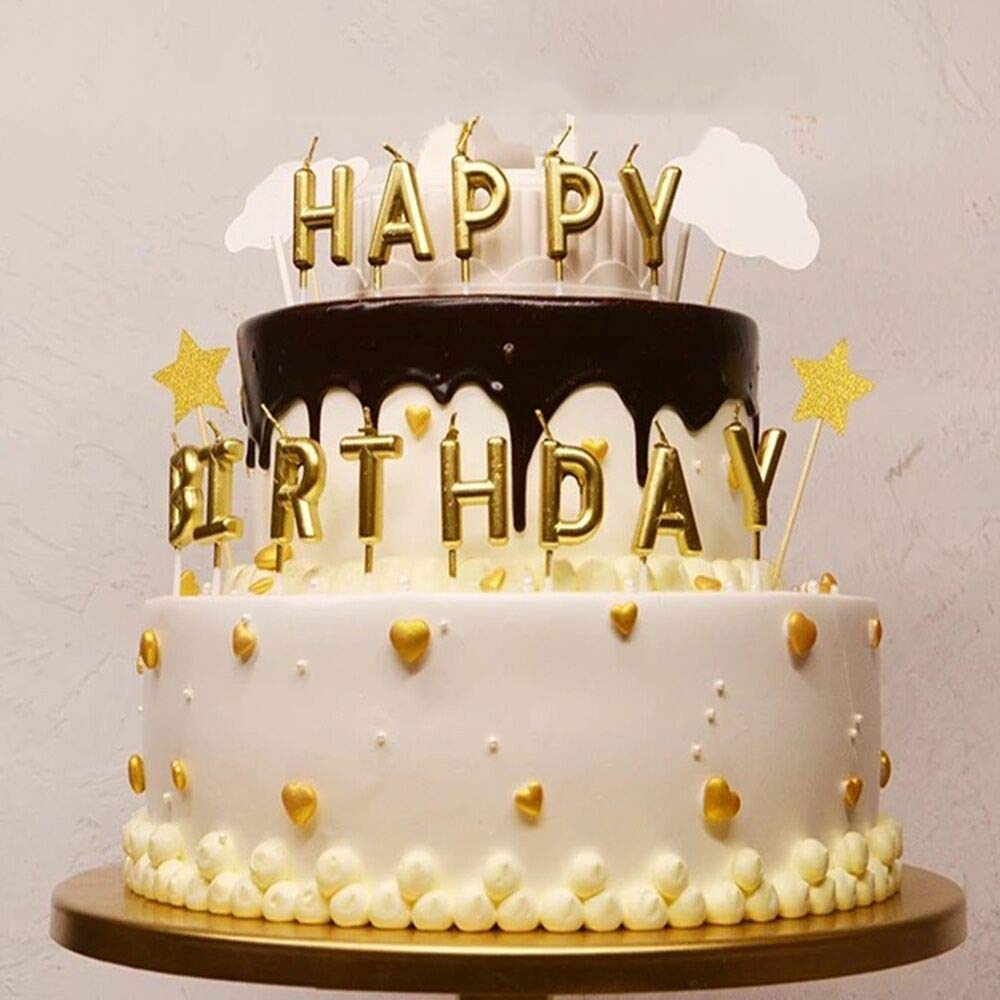 MNPARTY Happy Birthday Candle For Kid And Adult Cake Decoration13 Lettler CandlesGolden Candles Party Decorations